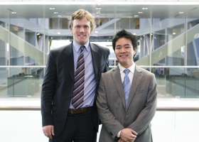 Ira Shaugnessy and Jonathan Huynh, first-year MBAs from the University of Michigan, are the first-place winners of the inaugural Innovation in Social Entrepreneurship Case Competition.
