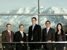 2011 Eccles Scholars. From left, Benjamin Rich, Ammon Shumway, James Toone, Mason Chenn and Cecilia Yiu