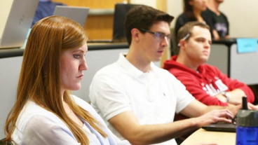 Students listening in class