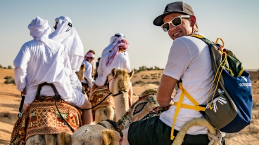 Student rides camel
