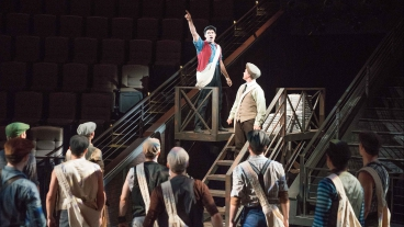 James Bounous rehearsing for Newsies.