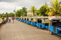 Tuk tuks are ready for use in Madagascar.