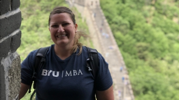 Jennifer Scherbel visits the Great Wall of China with the BYU Marriott MBA program