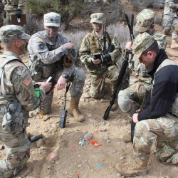Army ROTC cadets receive instructions during training.