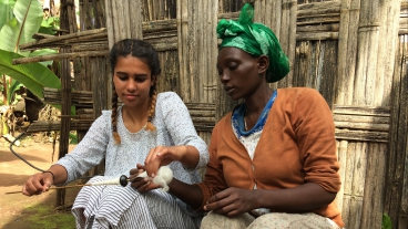 BYU sophomore Olivia Berhan working with an Ethiopian woman as part of her entrepreneurial venture