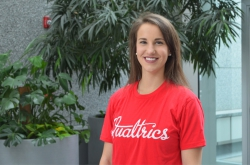 Natalie Stoker, 2018 BYU Marriott human resources graduate, posing for a photo after accepting a job with Qualtrics. Photo courtesy of Natalie Stoker.