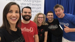 Qualtrics reps at the BYU General Career Fair Fall 2018. Photo courtesy of Natalie Stoker.