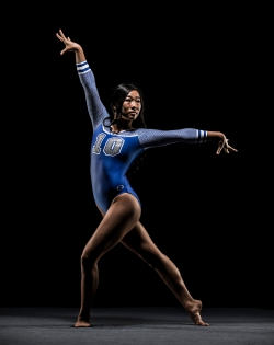 Angel Zhong is a member of BYU's gymnastics team. Photo courtesy of BYU Photo.