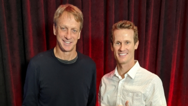 Marc de Schweinitz posing with his idol Tony Hawk. Photo courtesy of Marc de Schweinitz.