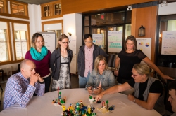 Duerden and group designing a LEGO model