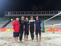 Vinci at the Rio Olympics on staff with USA women's beach volleyball team April Ross and Kerri Walsh Jennings.