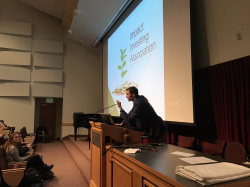Nicholas Van Slooten addresses students at the first Impact Investing Association meeting. Photo courtesy of Nicholas Van Slooten