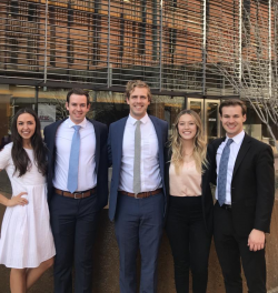 BYU Sales Club members took third place at the Arizona Collegiate Sales Competition. From left to right: Aubrey Nelson, Jared Blatter, Noah Kirk, Morgyn Carroll, and David Sorensen. Photo courtesy of Noah Kirk.