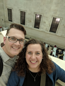 Rob Christensen with his wife at the British Museum.