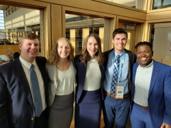 These are the 1st Place Utah SHRM competition winners: Joseph Whiting, Allison Harker, Rebecca Garrett, Joseph Grimaud, and Lameck Muaka.