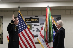 2nd Lt. Gowdy received the oath of office from his wife's grandfather. Photo courtesy of Chantelle Ericksen.