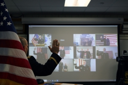 Lt. Col. Cook administered the oath of office to some of the Army ROTC cadets via a virtual conference call. Photo courtesy of Chantelle Ericksen.