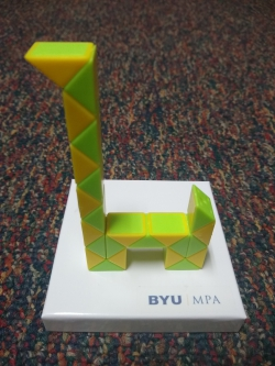 Kaylee Anderson created a giraffe for the Rubik's snake contest. Photo courtesy of Kaylee Anderson.