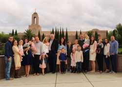 Anne Sledd and her family at the Newport Beach Temple in California