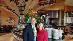 Oldham and his wife Janae at the Orem Tucano's restaurant opening.