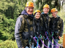 Alison Davis-Blake and her family ziplining in New Zealand