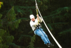 Hal Heaton ziplines in Whistler, Canada.