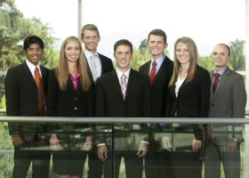 2011 Global Ambasadors. From left, Harsh Vora, Emily Eckley, Scott Nelson, Nicholas Romano, Timothy Colvin, Amie Isom and Christopher Law.
