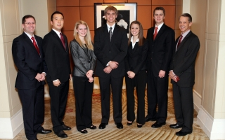2011 BYU xTAX team (from left): John Barrick, faculty adviser; Hegon Chase; Sarah Simpson; Cameron Doe; Katherine Anderson; Jeshua Wright; and Dave Stewart, faculty adviser.