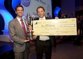 Autobid co-founders Jordan Furniss and Taylor Moss won first place and $50,000 in prizes at the 2012 BYU BPC.