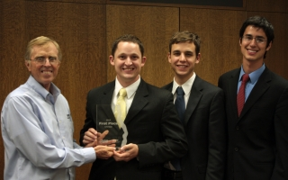 L to R: Lee Radebaugh, BYU GMC director; Ben Van Noy; Matthew Eley; and Jordan Carroll