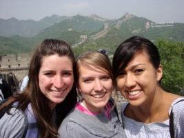 Global Management Certificate recipient Emma Douglas (center) with Heidi Clark (left) and Chelsea Scanlan (right) at the Great Wall of China during her study abroad to Asia in June 2009.