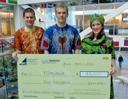 From left: Justin King, Andrew Steward and Janice Kirk of Tilapiana received $5,000 for their innovative fish-farming franchise at the 2011 Business Plan Competition.