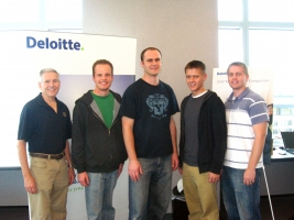 Undergraduate team (from left): Faculty adviser Robert Gardner, Jordan Mendez, Devin Davidson, Joe Orien and Brian Hazen
