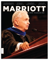 The Fall 2010 Marriott Alumni Magazine   cover featuring its new redesign.