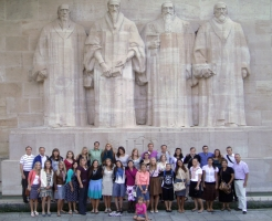The Mediterranean Business Study Abroad group poses in front of the Wall of the Reformers in Geneva, Switzerland. The students were able to see visit many prominent businesses and cultural sites on their trip offered through the Whitmore Global Management Center.