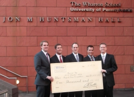 The MBA student team placed second at the 2012 Wharton MBA Buyout Case Competition: (from l to r), Spencer Clawson, Adam Mabry, Scott Cole, Cory Steffen, John Mayfield
